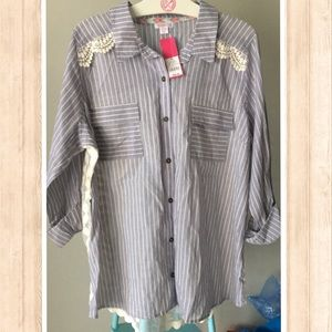NWT PinStripe Button Down with Lace Back